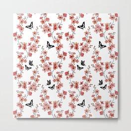 Sakura butterflies in peach pink Metal Print