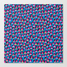 Pink Heads On Blue Canvas Print