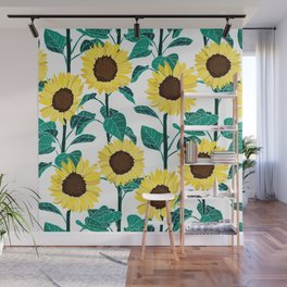 Sunny Sunflowers - White Wall Mural
