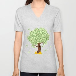 Tree of Money T-shirt Design For those who wants to have luck. Here's a tree of dollars. A must have Unisex V-Neck