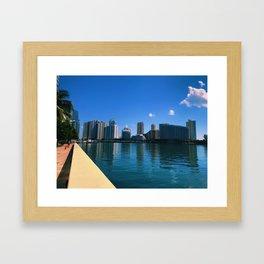 Brickell Key Skyline over Biscayne Bay Framed Art Print