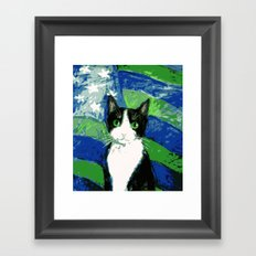 12th Cat with Stars and Stripes Framed Art Print