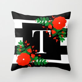 T - Monogram Black and White with Red Flowers Throw Pillow