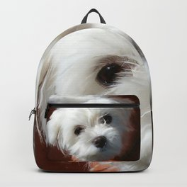 Cute Maltese asking for a treat Backpack