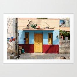 Happy house with yellow door Art Print