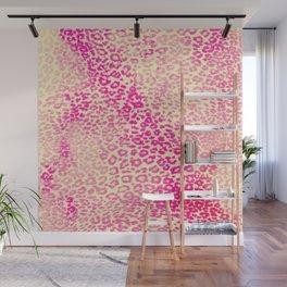 Modern Pink Yellow Watercolor Cheetah Animal Wall Mural