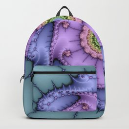 Magical zoomed fractal image in shiny pastel colours Backpack