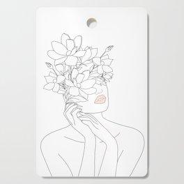 Minimal Line Art Woman with Magnolia Cutting Board