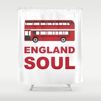 england Shower Curtains featuring England Soul by Tony Vazquez