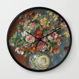Auguste Renoir - Vase of flowers Wall Clock