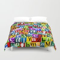 letters Duvet Covers featuring Letters by Ronda Bröc