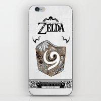 the legend of zelda iPhone & iPod Skins featuring Zelda legend - Kokiri shield by Art & Be