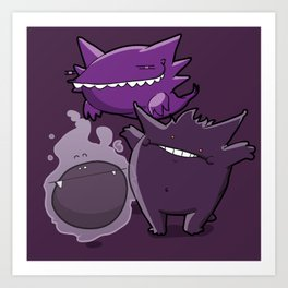 Pokémon - Number 92, 93 & 94 Art Print