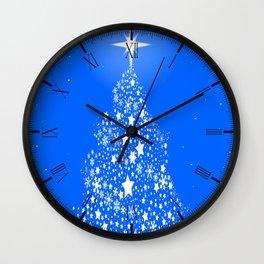 Star Spangled Snowflake Christmas Tree Wall Clock
