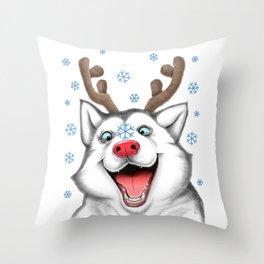 Husky Rudolph Throw Pillow