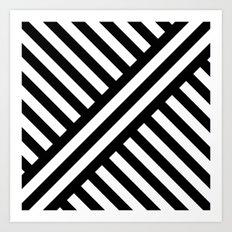 B/W two way diagonal stripes Art Print