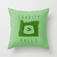fez Throw Pillows featuring Gravity Falls - Grunkle Stan's Fez (Green) by pondlifeforme