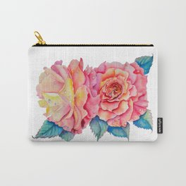 Peach Watercolor Roses Carry-All Pouch