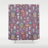 satan Shower Curtains featuring Happy Halloween by Anna Alekseeva kostolom3000
