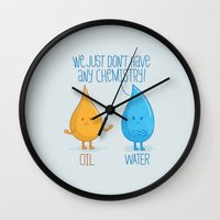 chemistry Wall Clocks featuring NO CHEMISTRY by free_agent08