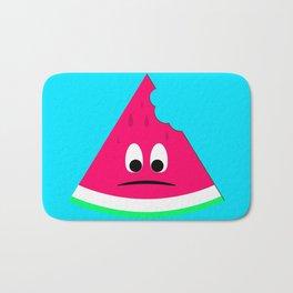 Cute sad bitten piece of watermelon Bath Mat