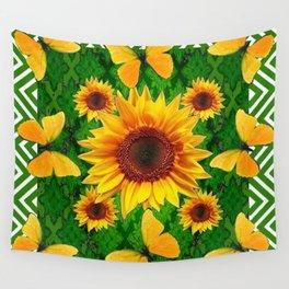 Green Yellow Butterflies Sunflowers Flowers  Art Wall Tapestry