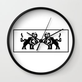Feline duet - Two black and white felines facing each other. Wall Clock