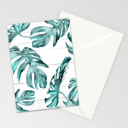 Turquoise Palm Leaves on White Wood Stationery Cards