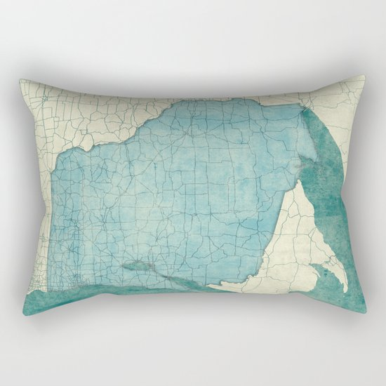 Wisconsin State Map Blue Vintage Rectangular Pillow