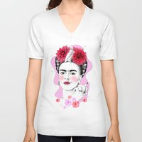 frida kahlo V-neck T-shirts featuring Frida Kahlo by sarah illustration