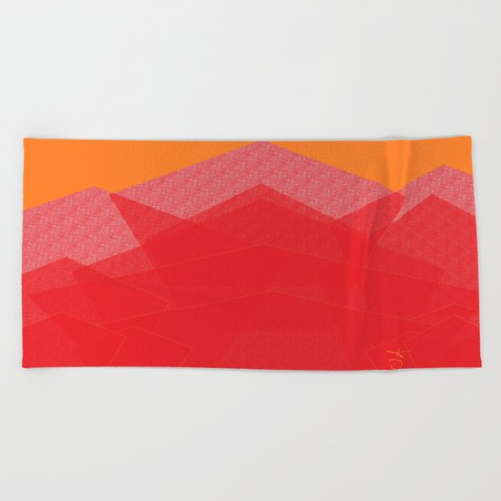 Colorful Red Abstract Mountain Beach Towel
