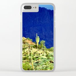 Cactus Against the Mountains Clear iPhone Case