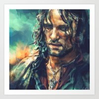 lotr Art Prints featuring Elessar by Alice X. Zhang