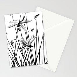 Minimal Art Flower Field Dragonflies White Stationery Cards