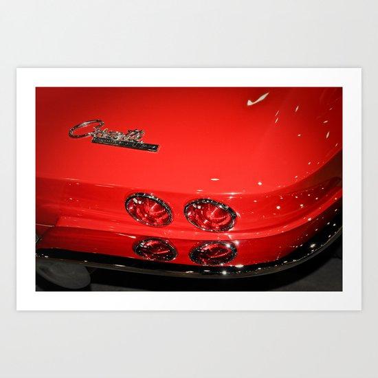 Red Corvette Sting Ray Car Art Print
