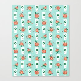 Coffee lovers mint floral bouquet gift idea for sbucks fan java pattern kitchen food Canvas Print