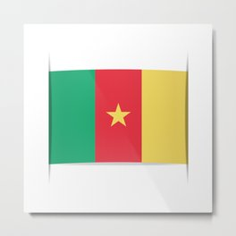 Flag of Cameroon.  The slit in the paper with shadows.  Metal Print