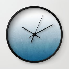 Urva - ombre indigo blue watercolor abstract minimalist home decor painting Wall Clock
