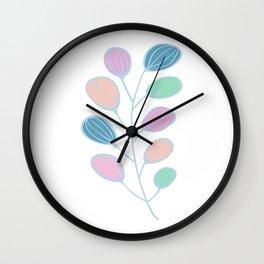 Leaf Print, Plant Print, Kids Room, Wall Art Download, Leaves Wall Art, Colourful Plant Wall Clock