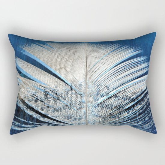Feather   Feathers   Spiritual   White and Blue Feather   Nature Rectangular Pillow