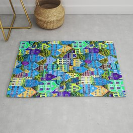 Blue And Yellow Houses Rug