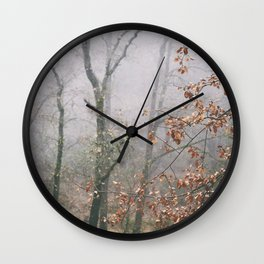 """""""Into the woods VII"""". Wandering into the fog Wall Clock"""