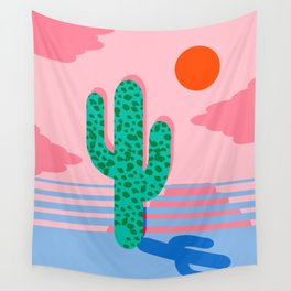 No Foolin - retro throwback neon art design minimal abstract cactus desert palm springs southwest  Wall Tapestry