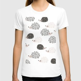 Hedgehog friends black and white spots T-shirt
