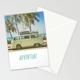 Surf Van Road Trip Beach California Stationery Cards