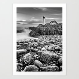 Portland Head Light and Crashing Waves in Black and White Art Print