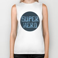 superhero Biker Tanks featuring Superhero by Open The Mind