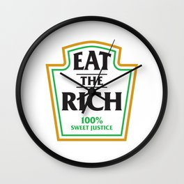 Eat The Rich Ketchup Label Wall Clock