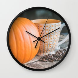 Autumn Photography - Pumpkin And Coffee Wall Clock