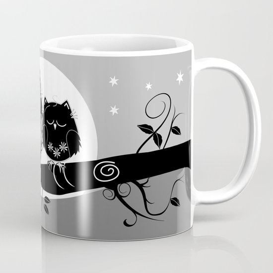 B&W Flower power Owl and her Sleepy Baby Coffee Mug
